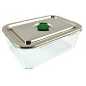 Lifewithoutplastic glazen rechthoekige lunchbox met rvs deksel en sillicone ring 1600ml