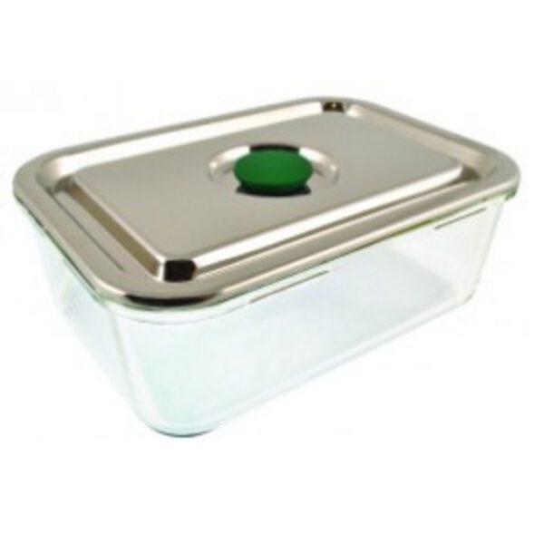 Life without plastic rechthoekige glazen lunchbox met lekdichte rvs deksel broodtrommelstore - Deksel x ...